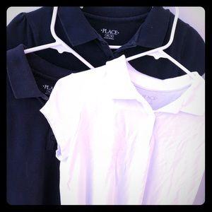 Girl's sz XXL/16 Uniform Polo Shirts navy/white